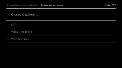 X1 Remote Shortcut options screen, Closed Captioning highlighted