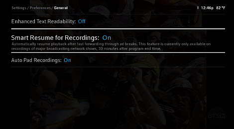 Smart Resume for Recordings is displayed in the middle of three options