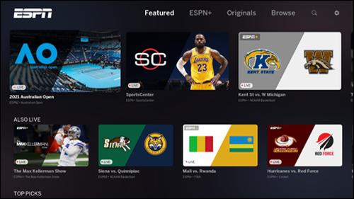 ESPN app screen featuring various programming