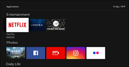 Apps menu with Netflix tile the first available under Entertainment.