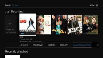 La opción Mark Unwatched se selecciona debajo del contenido que se muestra en la fila Just Recorded.