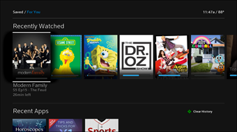The Recent Apps row appears below the Recently Watched row.