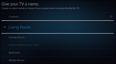 """Give your TV a name"" screen."