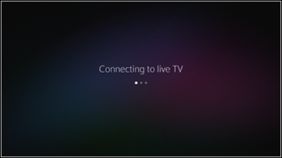 """Connecting to live TV"" screen."