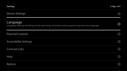 Settings menu with