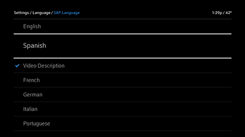 Settings menu, Language screen - SAP Language screen with