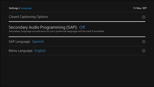 Settings menu, Language screen with