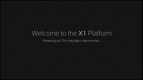 The Welcome Screen on the X1 TV box which displays following a reboot.