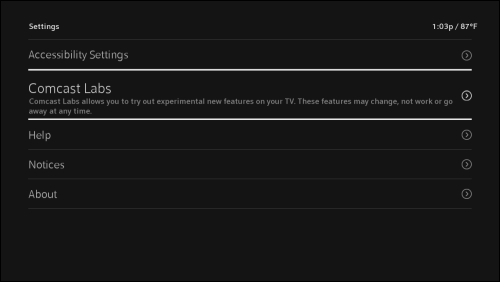 The settings menu with Comcast Labs highlighted