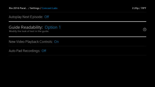 The Comcast Labs screen with Guide Readability: option 1 selected