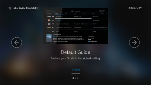 option 4, the default guide, in the comcast labs screen