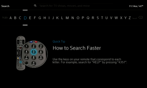 Se muestra el alfabeto en la parte superior de la pantalla para realizar la búsqueda. Debajo te mostramos un consejo sobre cómo utilizar el teclado numérico del control remoto.