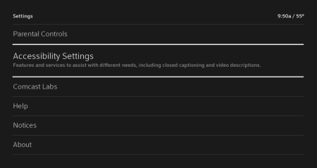 Settings menu with Accessibility Settings highlighted.