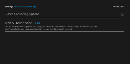 Accessibility Settings screen with Video Description highlighted.