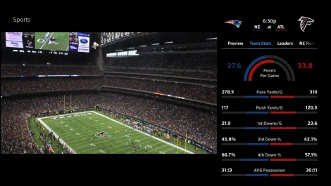 The X1 Sports app displaying NFL Extras.