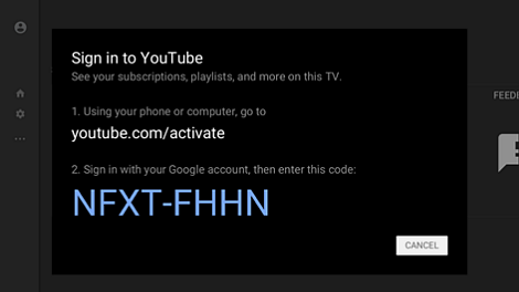 YouTube sign-in page with access code.