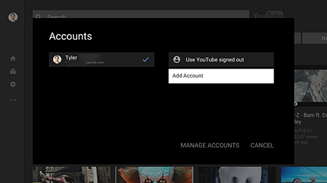Accounts page with Add Account selected.