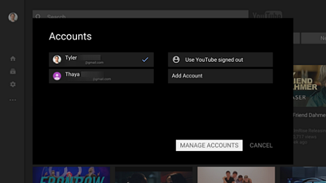 Accounts page with Manage Accounts option at bottom right.