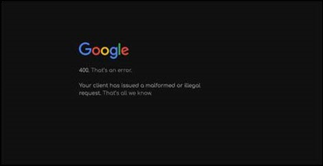 Google 400 error says