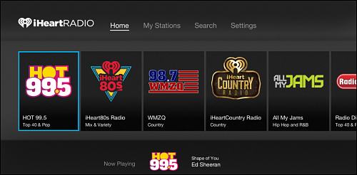 iHeartRadio home screen.