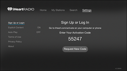 IHeartRadio Settings screen with Sign Up or Login option selected.