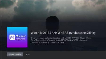 Movies Anywhere demo page with Send to mobile option on bottom left.