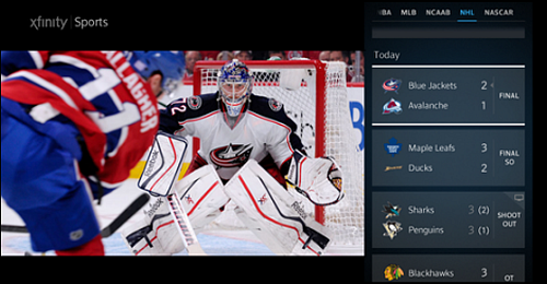 The Sports app screen offers scores and different sports menus to choose from.