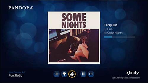 A song in the X1 Pandora app.