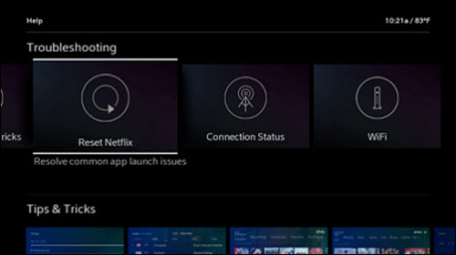 "Troubleshooting screen with ""Reset Netflix"" option selected."