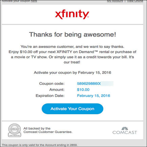 Register an Xfinity Coupon and Check Your Balance