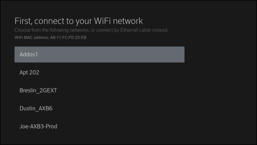 Screen to connect to WiFi with a list of nearby WiFi networks.