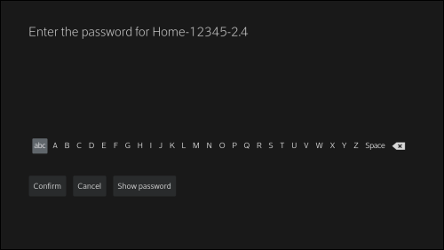 Screen to enter the password for the selected WiFi network