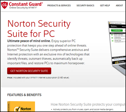 The GET NORTON SECURITY SUITE welcome page.