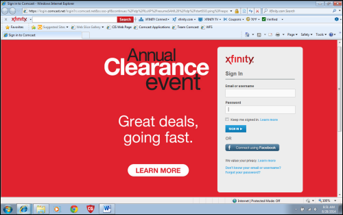 Log in page for XFINITY customers.