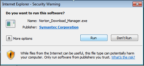 Internet Explorer - Security Warning pop-up window with Run option.
