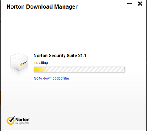 Installation progression screen for Norton Download Manager.