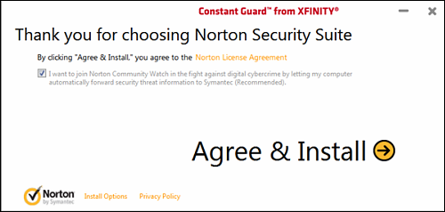 The Agree & Install page with Norton Community Watch checkbox.