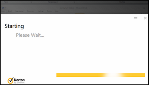 The Norton Security Suite start-up page.