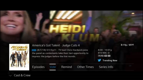 AGT Info screen. Vote option is located on the bottom bar. Second option after Episodes.