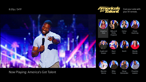 AGT Voting screen with contestant pictures and names on the right.