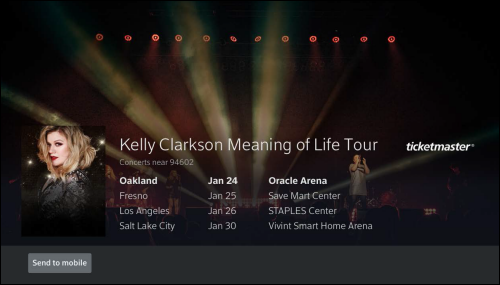 Kelly Clarkson tour page on X1.
