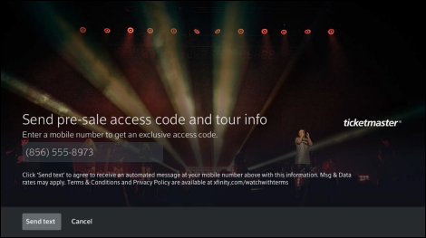 X1 page to enter phone number to receive tour pre-sale access code.