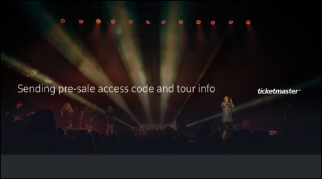 Ticketmaster pre-sale code sent confirmation screen.