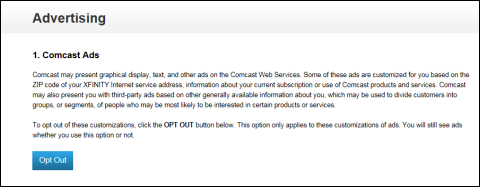 Advertising Opt Out Screen about Comcast Ads. The Opt Out button is on the bottom left.