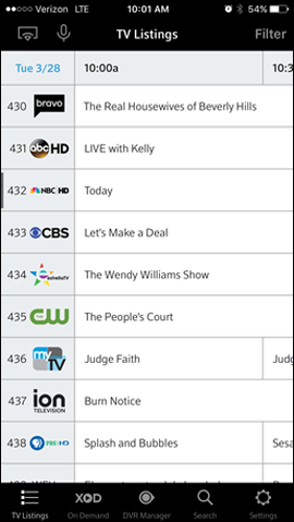 Shows a schedule of TV listings