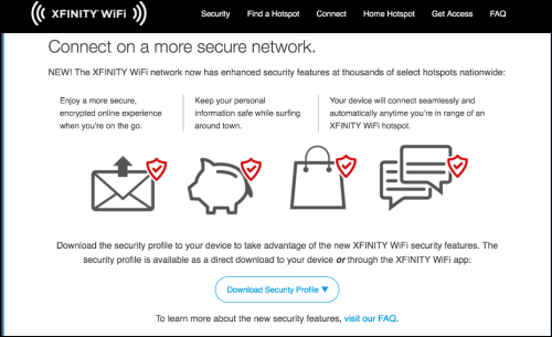 Connect to a secure network page. Contains a 'Download Security Profile' button.