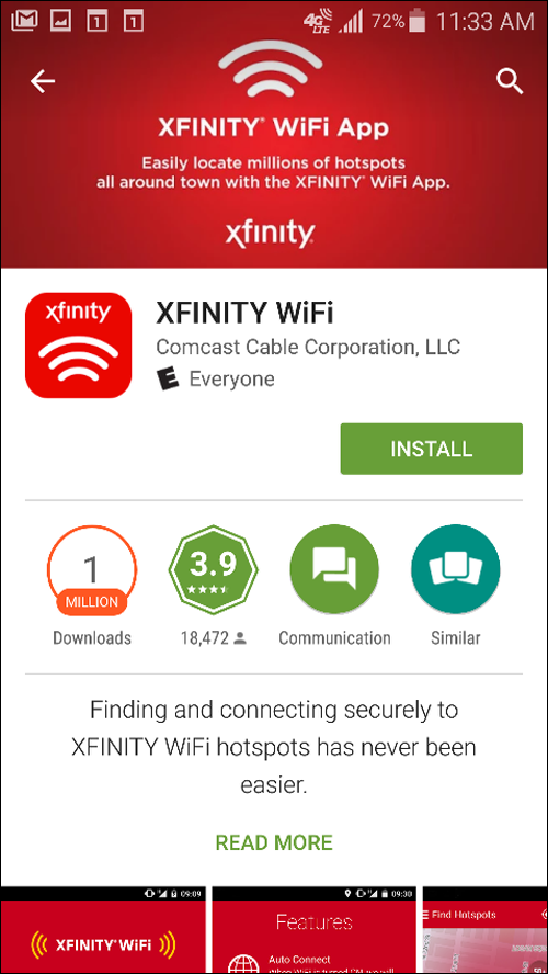 XFINITY WIFI App Download page for Android.