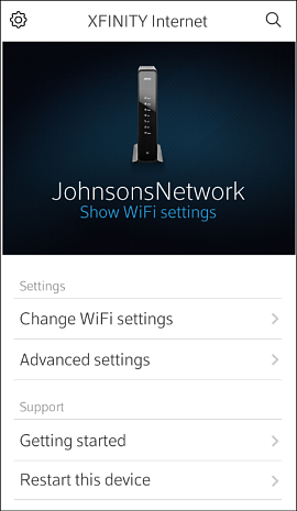 XFINITY Internet screen with the option to Show WiFi Settings underneath the WiFi network name.