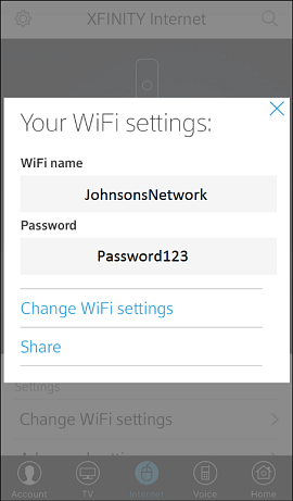 Your WiFi settings screen, showing the WiFi name and password with the options to Change WiFi Settings or Share.