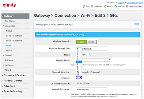 Change the WiFi Channel in the Admin Tool or Xfinity xFi